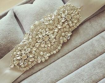 Bridal Rhinestone Sash Belt  Wedding Crystal Sash Belt Wedding Accessories