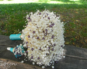 Purple Pearls bouquets, purple brooch bouquets ,bridal brooch bouquet, bridesmaids bouquets with pearls,wedding bouquet,bride bouquet