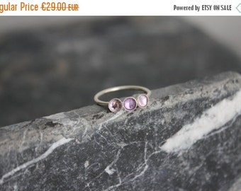 ON SALE THREE Sides   Amethyst ring African and Silver 925