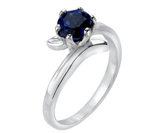 Sapphire Solitaire Engagement Ring, 1.00 ct Round Cut Sapphire Soliataire Engagement Ring in Real Solid 14k White Gold,September Birthstone