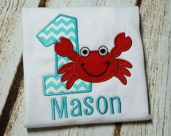 Crab first birthday shirt - boy - personalized
