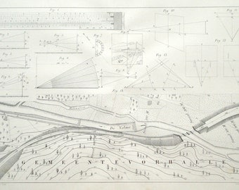 Railroad, railway construction 1885 engineering print - Technical drawing, geometry - 131 years old victorian lithograph illustration (B695)