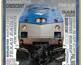 "Amtrak Logo ""Heritage"" Wood Plaque / Sign / Man Cave"