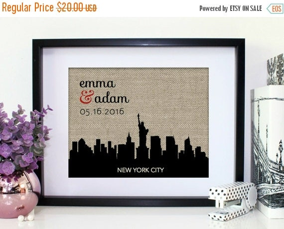 Unique Wedding Gifts Nyc : New York City Skyline Wedding Gift Choose A City Personalized ...