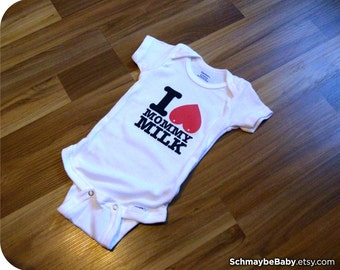 Baby Onesie, Breastfeeding Onesie, I Love Mommy Milk, 0-3 Months - Nursing, Funny Baby Gift