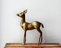 Large Brass Deer Figurine, Standing Brass Deer, Woodland Decor