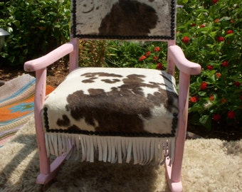 Cowgirl Chic Child's Pink Rocking Chair and Spotted Cowhide