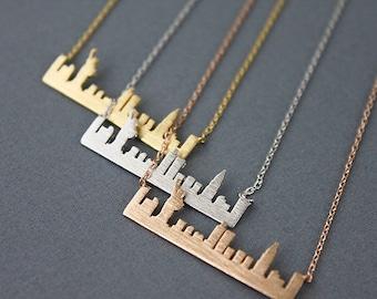New York Skyline Necklace NY necklace . Cityscape Necklace New York Necklace