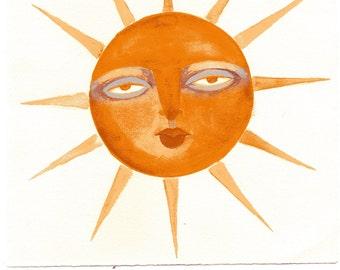 Sun & Moon original watercolor 2 piece set