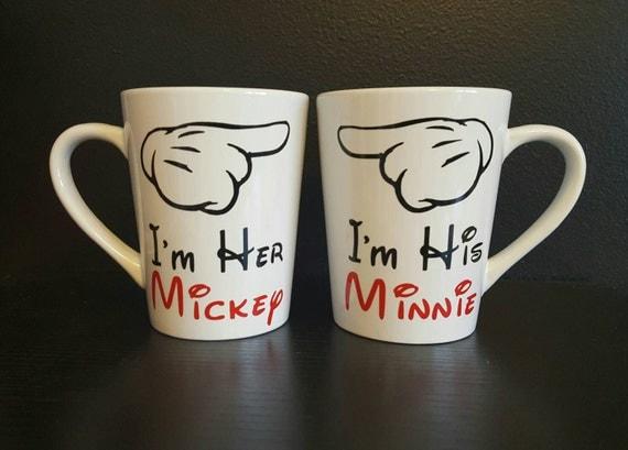 Wedding Gift Coffee Mugs : and Minnie coffee mugs; Wedding gift- Anniversary gift; coffee mugs ...