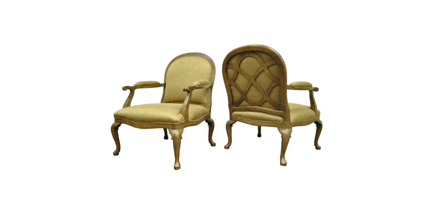 Pair vintage ethan allen french country lattice lounge for Pair of chairs for living room