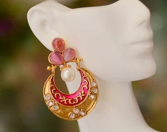 Purbi Earrings-Gorgeous Hoop Earrings,Pink Meenakari Work,White Kundan Earrings,Matt Finish Jewerly,Trendy Earrings, Gift For Her,Manorama's