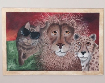 Original Equality acrylic cats painting, 36in x 24in.
