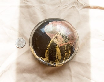 RANDY STRONG Art glass Black and Gold foil Paperweight signed limited edition