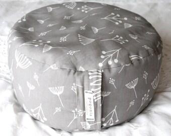 Organic Zafu Meditation Cushion (Gray Twig)