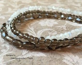 Smokey Quartz Moonstone Multistrand Bracelet