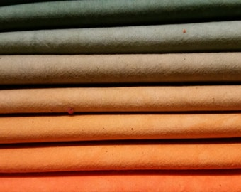 "Hand dyed cotton fat quarters for quilting, gradation of dark teal/green to orange, ""Southwest Medley"""