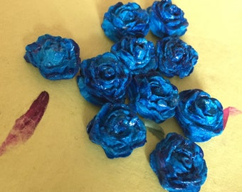 Clay Rose Cabochons (Blue)