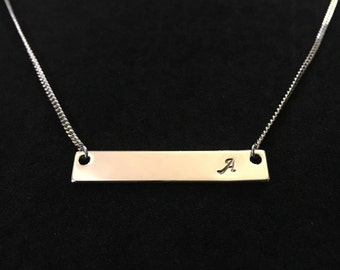 Custom Stamped Bar Necklace - Rhodium plated