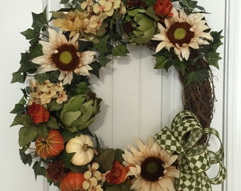 Fall welcome wreath, harvest wreath, autumn decor, pumpkin decor #8