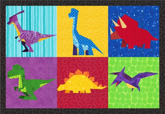 Dinosaurs 6 Quilt Block Patterns Foundation Paper Piece