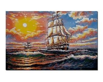 Seascape Painting, Wall Art, Abstract Art, Oil Painting, Sail Boat Painting, Painting, Abstract Painting, Large Art, Canvas Art, Wall Art