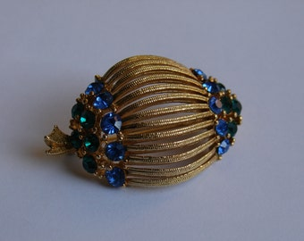 Lisner Brooch Gold Tone Wire, Green and Blue Rhinestones