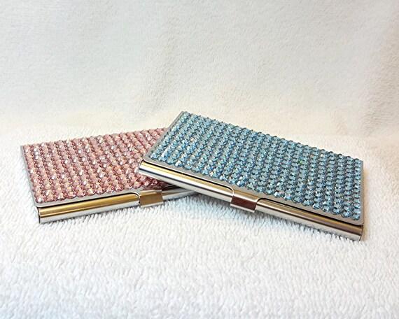 Sale rhinestone business card holder case swarovski pink or for Bling business card holder
