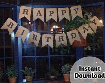 Printable Rustic Birthday Banner - Happy Birthday - Smores Bar - Cocoa Bar - DIY Instant Download Digital File - Just print & cut!