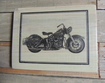 vintage Harley Davidson motorcycle wood plaque