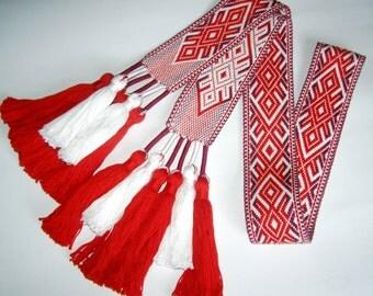 Woven Sash, Women's Slavic Belt with tassels, Lada, Russian Belt, Handmade woven sash, Woven Slavic Belt for re-enactors