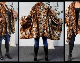 Plus size Tiger Print Asymmetrical Velboa Warm (Velvet)Swing Jacket Coat XL to 4XL