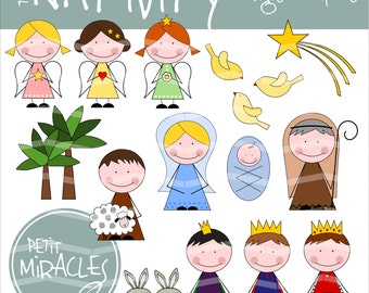 NATIVITY SCENE, jpg, png, digital file, digital clipart, Advent Calendar, Christmas Party Printables, Instant Download, Advent Calendar
