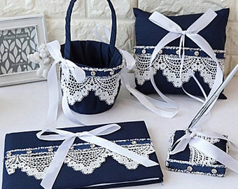 Blue Lace Wedding Collection Set Flower Basket, Guest Book, Pen Set, Ring Pillow, Very stunning, Option Colors Available. A must Have.