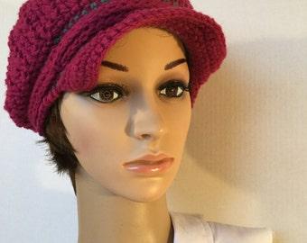 Dark Pink Brimmed Newsboy Hat ~ Size: Women
