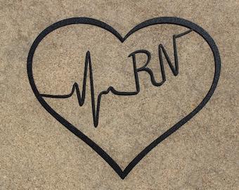 Medical Professional Heart (Cna Lpn Rn Bsn Aprn Np Cns Emt Rt Md) Heartbeat Metal Wall Art, Nursing decor, Nurse wall art, Registered Nurse