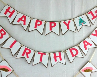 Tribal Birthday Banner - party supplies - boho - axtec - decorations - personalized