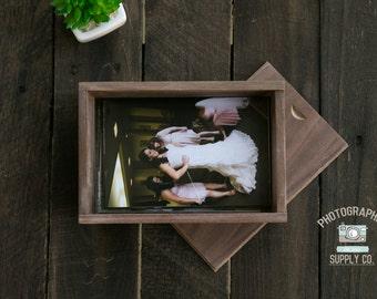 "Mahogany Wood/Wooden 4x6 Print Box Holder 4""x6"" Proof Box"