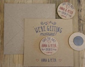 Wooden Round Fridge Magnets - Save the Dates 30x (min order) Heart...