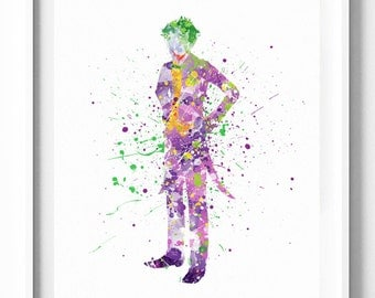 The Joker Print Batman Villains Printable DC Comics Prints Watercolor Art Painting Kids Home Decor Nursery Wall Decor Wall Art Gift For Him