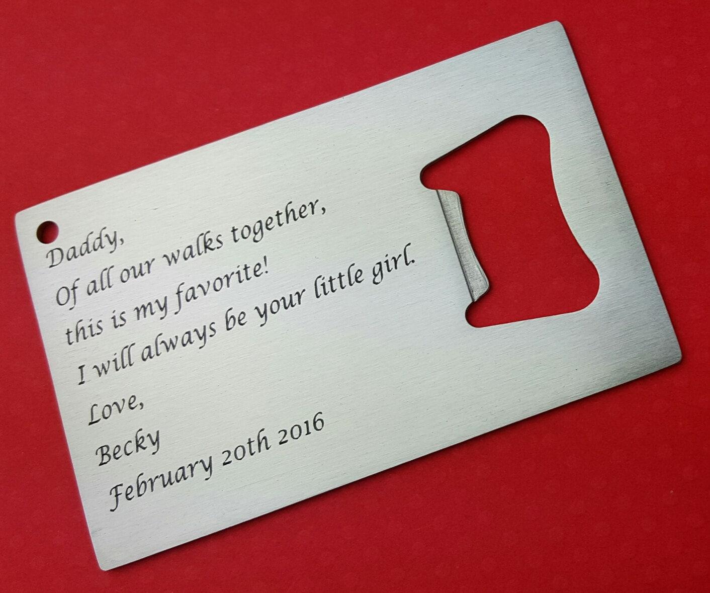father of the bride wallet card bottle opener personalized. Black Bedroom Furniture Sets. Home Design Ideas
