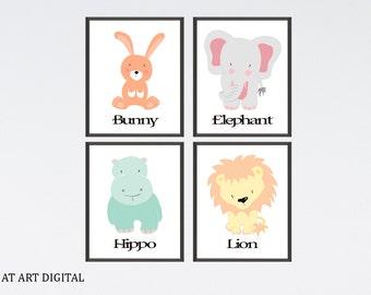 Animal Nursery Print, Nursery Wall Art, Lion Nursery Print, Bunny Nursery Art, Hippo Nursery Decor, Elephant Nursery, Set of 4 Prints