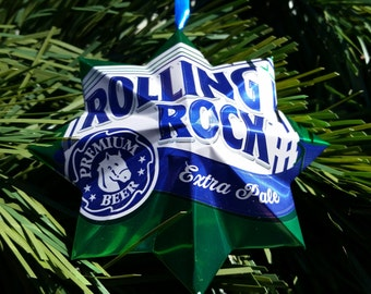 set of 4 rolling rock christmas ornaments