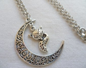 Moon and fox necklace,moon necklace,charm necklace,fox necklace,moon jewelry,fox jewelry,silver necklace,wiccan jewellery,handmade,gift