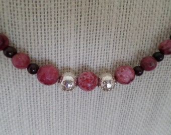 breccated jasper and lepidolite necklace