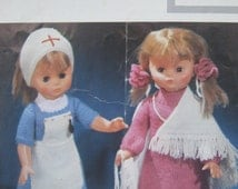 Vintage Knitting Pattern, Dolls Clothes, Nurse Outfit, Evening Dress, Maxi Length with Shawl and Bag, 18 inch Doll, Lister Lee Target K621