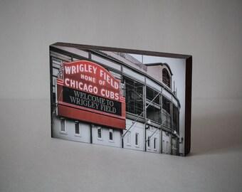 Chicago Cubs - Wood Photo Block, Wrigley Field Art Print, Neon Sign Photograph, Cubs Art Gift, Baseball Decor, Chicago Cubs Wall Art