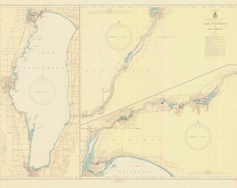 Lake Winnebago Historical Map 1945