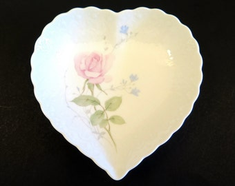 Vintage Mikasa Heart Dish April Rose Bone China Scalloped Edge