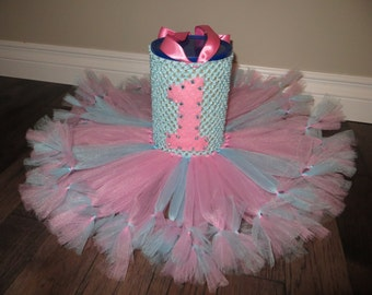 1st birthday tutu dress, pink and blue tutu dress